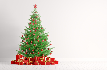 Interior of a white room with christmas fir tree and red gifts 3d render Foto de archivo