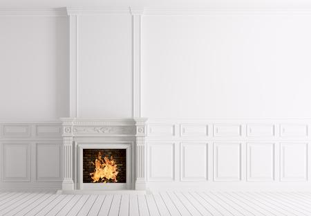 Interieur van lege klassieke witte ruimte met marmeren open haard 3D-rendering Stockfoto
