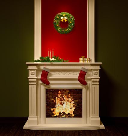 Kerstnacht interieur met open haard, kroon, kousen, geschenken, kaarsen decoratie 3D-rendering