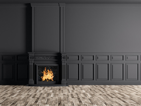 Interior of empty classic room with fireplace over black panels wall 3d rendering Standard-Bild