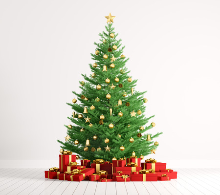 Interior of a room with christmas fir tree and red gifts over white wall 3d render