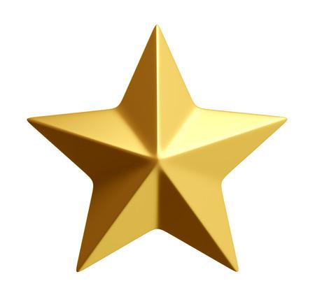 Golden star isolated over white 3d rendering