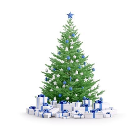 Christmas tree with blue silver baubles, gifts isolated over white 3d render