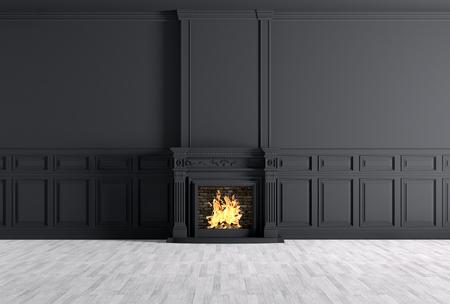 Interieur van lege klassieke kamer met open haard over zwarte panelen muur 3D rendering Stockfoto