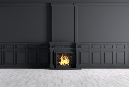 Interior of empty classic room with fireplace over black panels wall 3d rendering Foto de archivo