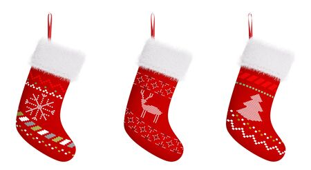 Red christmas stockings with patterns isolated over white 3d rendering Фото со стока