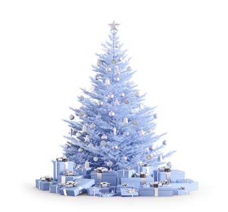 Árbol de navidad azul con adornos de plata, regalos aislados sobre blanco 3d render