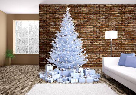 Modern winter christmas interieur met blauwe spar 3D-rendering