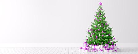Interieur achtergrond van een witte kamer met kerst dennenboom en geschenken 3D render