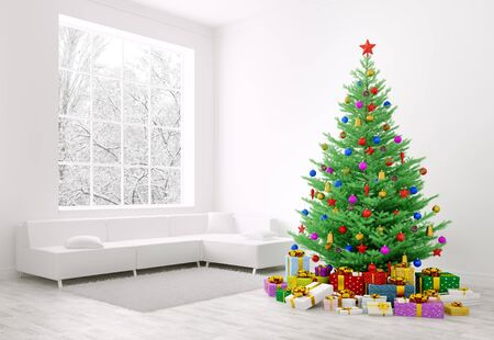 Christmas tree with colorful baubles, gifts in a living room interior 3d rendering