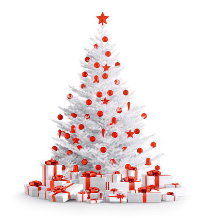 White christmas tree with red baubles, gifts isolated over white 3d render