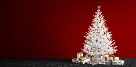 Interieur van een kamer met een witte kerst boom, gouden kerstballen en geschenken over rode muur 3d render