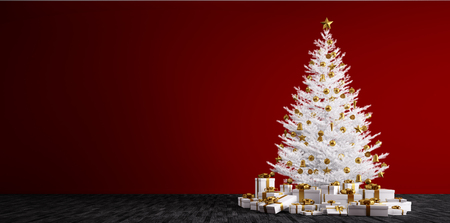 Interior of a room with white christmas tree, golden baubles and gifts over red wall 3d render