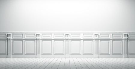 White vintage interior with wall paneling background 3d render