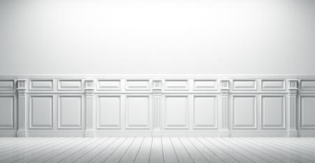 Witte vintage interieur met lambrisering achtergrond 3D render Stockfoto - 51119198