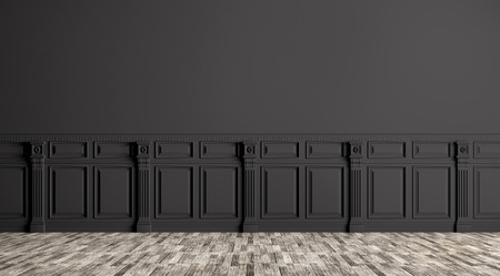 Black classic interior with wall paneling background 3d render Stockfoto