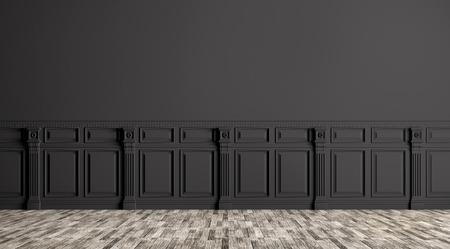 Zwarte klassieke interieur met lambrisering achtergrond 3D render