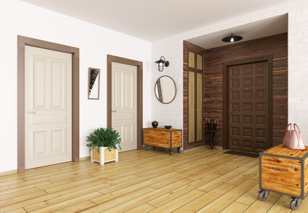 Interior of modern entrance hall 3d render Stock Photo