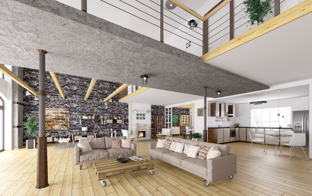 Loft apartment interior, dining, living room, kitchen 3d rendering Zdjęcie Seryjne
