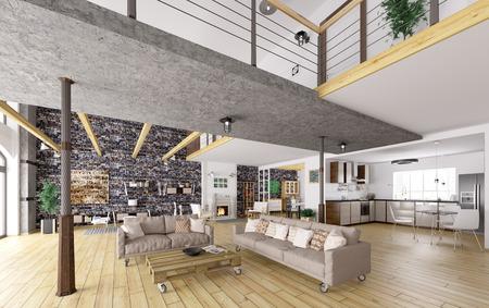 Loft apartment interior, dining, living room, kitchen 3d rendering Stock Photo