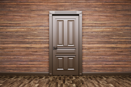 Inter van een kamer met een klassieke bruine deur over houten lambrisering 3D-rendering Stockfoto