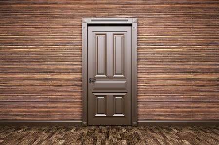 Interior de una habitación con la puerta marrón clásico sobre paneles de madera representación 3d Foto de archivo - 52748669