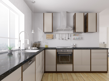 Modern kitchen with black granite counter interior 3d rendering