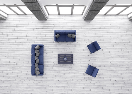 Top view of modern living room interior with blue sofas and armchairs 3d render