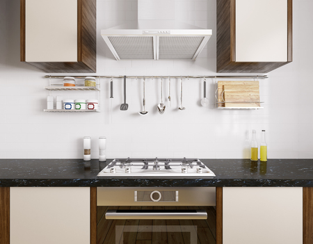 Modern kitchen with black granite counter, oven,gas stove, hood,utensils, interior 3d rendering