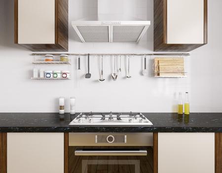 Moderne keuken met zwart granieten aanrechtblad, oven, gaskookplaat, afzuigkap, keukengerei, interieur 3D-rendering Stockfoto - 53306090