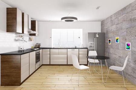 Moderne keuken met zwart granieten aanrechtblad, raam, tafel en stoelen interieur 3D-rendering