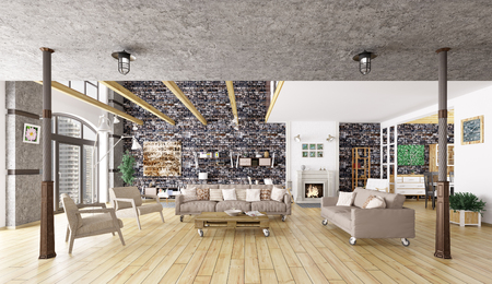 Loft Appartement Interieur, Eetkamer, Woonkamer, Keuken 3D-rendering ...