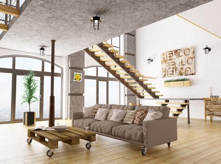 Interior de la sala de estar con sofá, procesamiento 3d de escalera