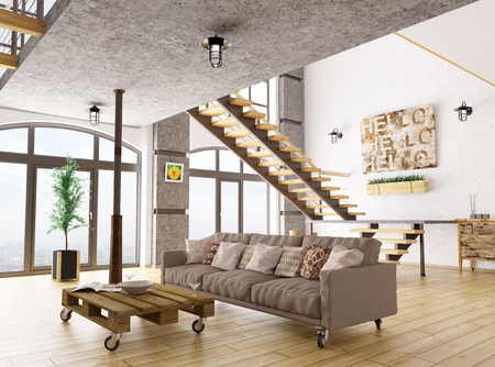Interior of living room with sofa, staircase 3d render
