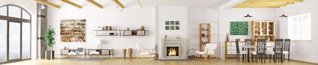 Inter van modern appartement, woonkamer, eetkamer, woonkamer met open haard, panorama 3D-rendering Stockfoto - 53801506