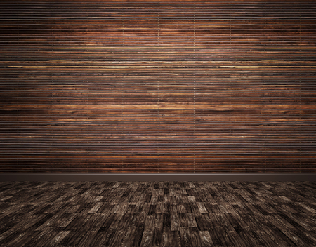 Interieur van een kamer met houten planken muur en parket achtergrond 3D render