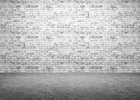 Interior of a room with brick wall and concrete floor background 3d render Stockfoto