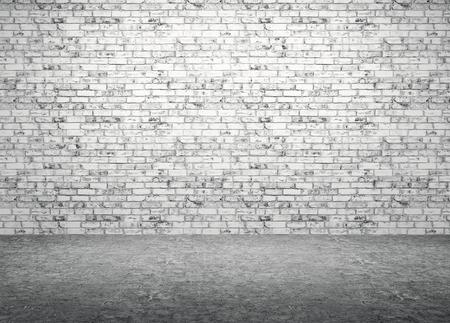 Interieur van een kamer met bakstenen muur en betonnen vloer achtergrond 3D render