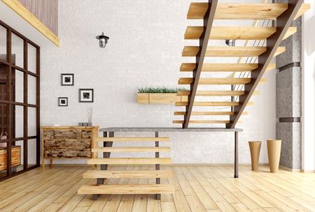 Moderne interieur van een kamer met een trap 3d render Stockfoto