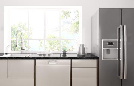 Interieur van de moderne keuken met zwart granieten aanrechtblad, koelkast 3d render
