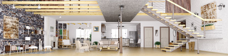 Panorama van de moderne loft appartement interieur, woonkamer, hal, keuken, eetkamer, trap, 3D-rendering
