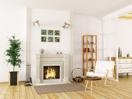 Cozy interior of living room with fireplace and rocking chair 3d render