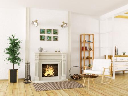 Gemütliches Interieur von Wohnzimmer mit Kamin und Schaukelstuhl 3d render Standard-Bild - 54232732