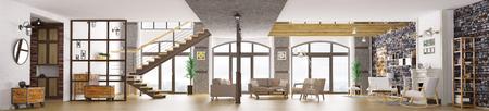 Panorama di interni moderni loft, soggiorno, corridoio, scala, camino rendering 3D