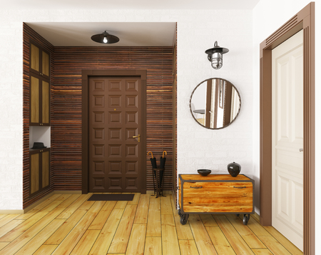 2 つのドアの 3 d レンダリングをモダンなホールの間します。 写真素材 - 54459501
