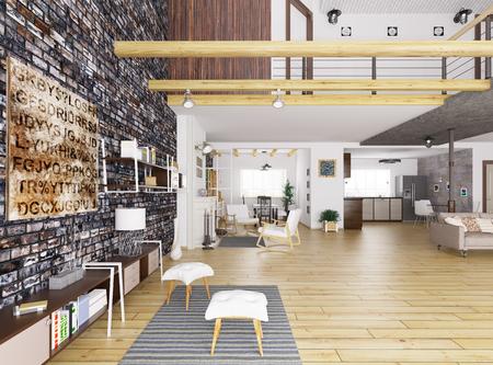 Interno di un appartamento moderno, soggiorno, sala da pranzo, cucina, salotto rendering 3D