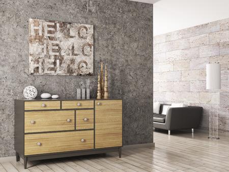 コンクリートの壁の 3 d レンダリングのに対して木製キャビネット付きのリビング ルームのインテリア 写真素材