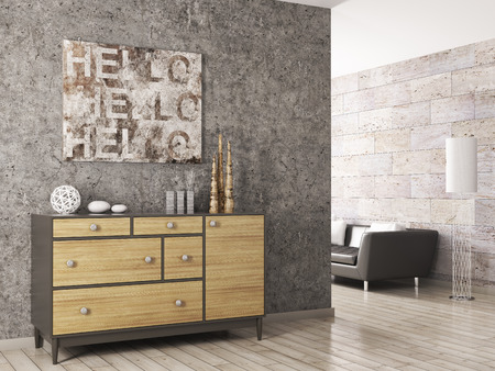 Interior of a living room with wooden cabinet against of concrete wall 3d render
