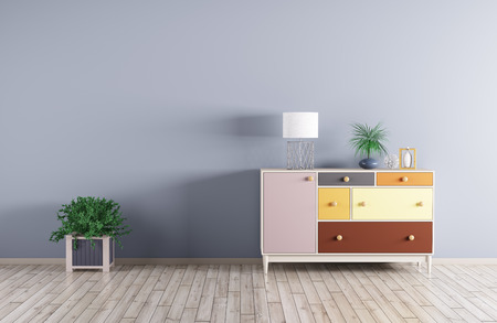 Interior of a room with cabinet and plant over blue wall 3d render