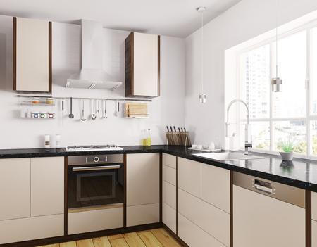 Moderne beige Küche mit schwarzem Granit Zähler Interieur 3D-Rendering